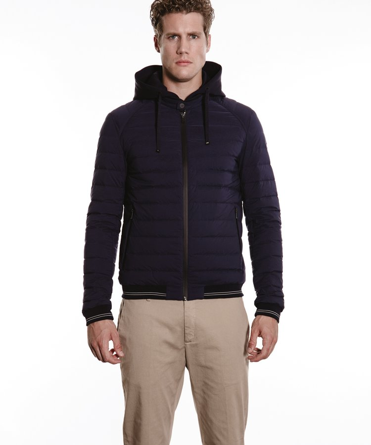 DUNO DUNO NAVY HOODED DOWN JACKET