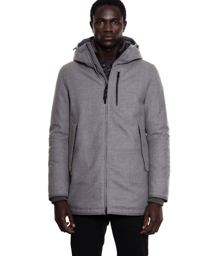 DUNO DUNO SHIELD WOOL HOODED JACKET GREY