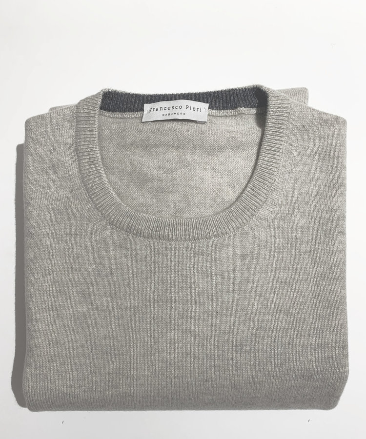 FRANCESO PIERI FRANCESO PIERI CASHMERE CREWNECK, LIGHT GREY