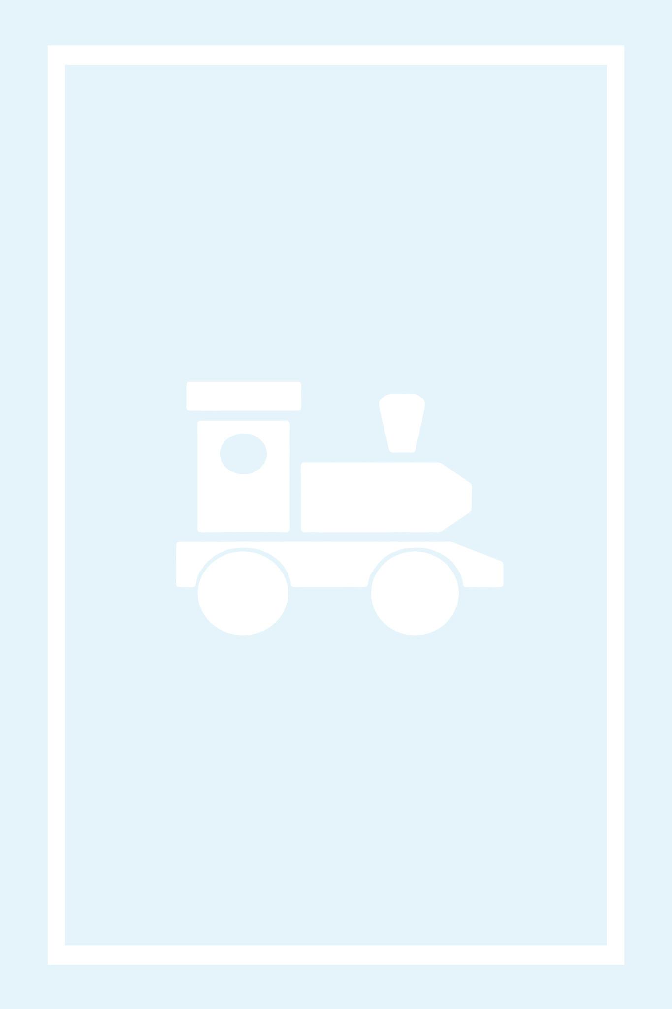 Play Carpet // Blue White Locomotive