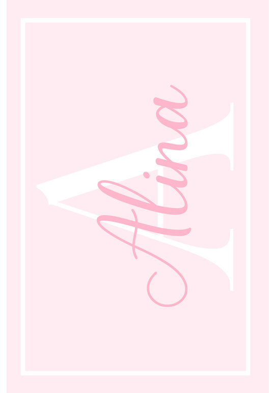 Play Carpet // Pink White - Name & Initial - Landscape