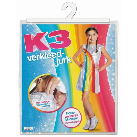 Robe K3 arc-en-ciel - taille 6-8 ans