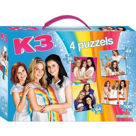 Puzzel K3 koffer 4 in 1: 36/49/64/10 stukjes