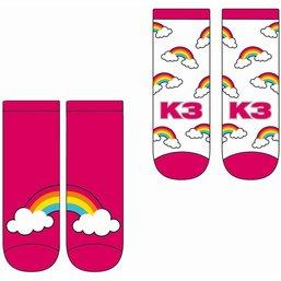 K3 Sokken Regenboog roze - 2 stuks