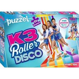 Puzzel K3 rollerdisco met poster: 104 stukjes