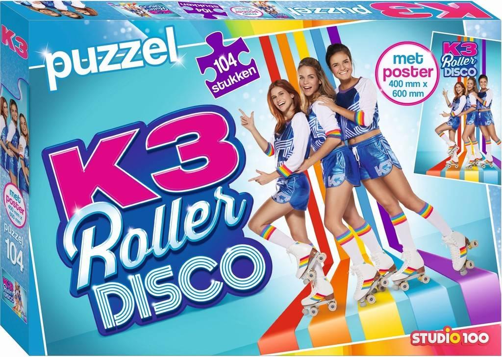 Puzzel K3 rollerdisco met poster 104 stukjes