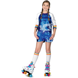 K3 verkleedpak: Roller disco playsuit met regenboog kousen