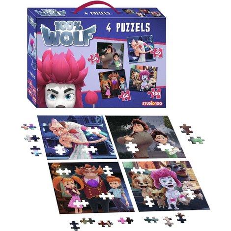 Puzzel 4 in 1 100% Wolf: 36/49/64/100 stukjes