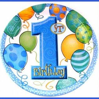 eerste verjaardag; Borden Blue Balloons
