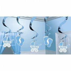 Swirl hangdecoratie geboorte jongen (5st)