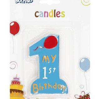Verjaardagskaars 1st birthday (jongen)