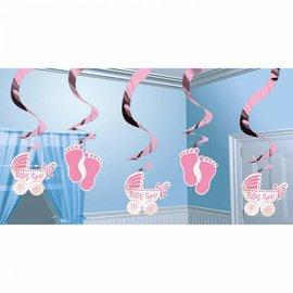 Swirl hangdecoratie geboorte meisje (5st)
