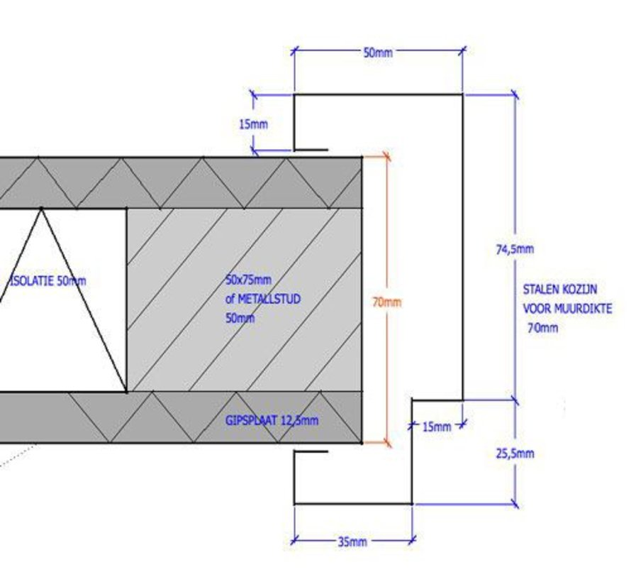 Svedex® Match stalen deurkozijn 70 mm opdek - 2015 mm alpine wit (incl. dorpel)