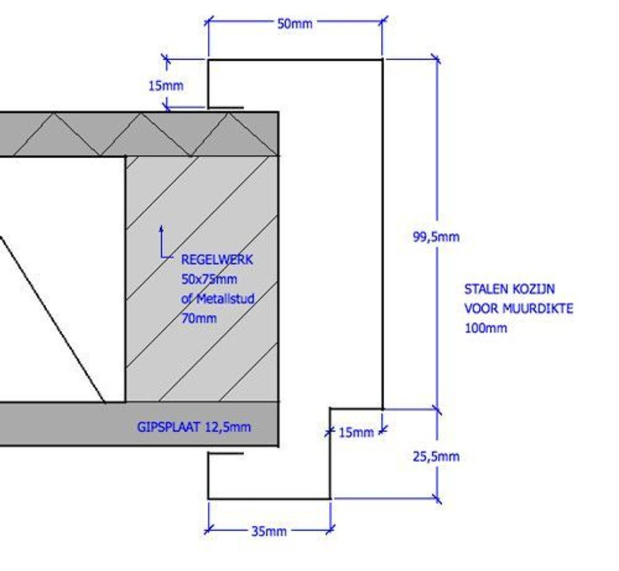 Svedex® Match stalen deurkozijn 100 mm opdek - 2015 mm alpine wit (incl. dorpel)