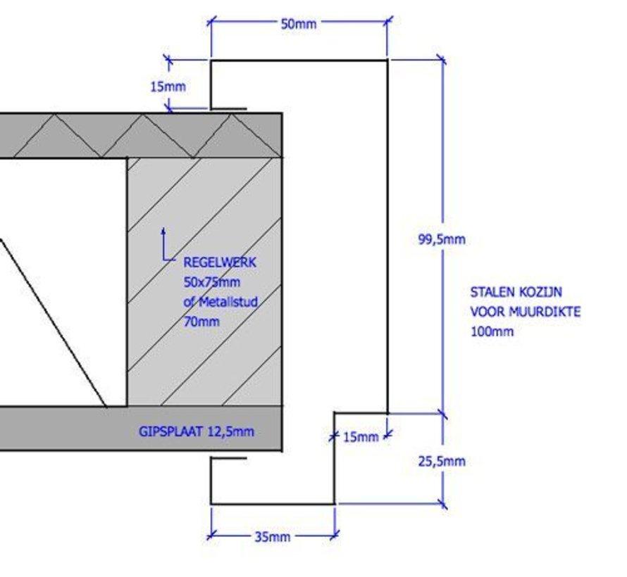Svedex® Match stalen deurkozijn 100 mm opdek - 2115 mm alpine wit (incl. dorpel)