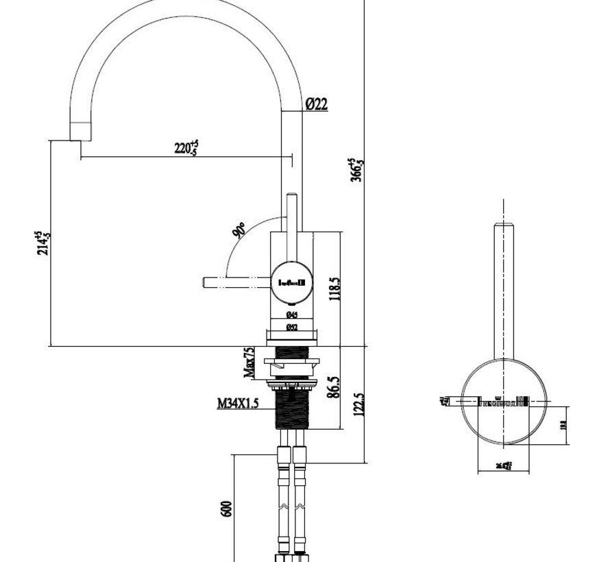 Reginox keukenkraan Spring RVS R31780
