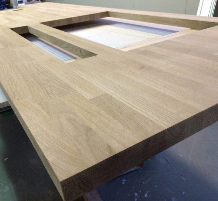 Massief houten werkblad Eiken Rustiek (gevingerlast)38mm 420x90cm