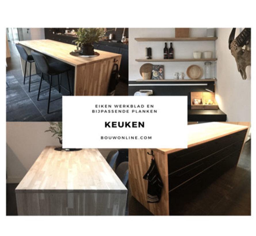 Massief houten werkblad Eiken Rustiek 19mm 300x62cm