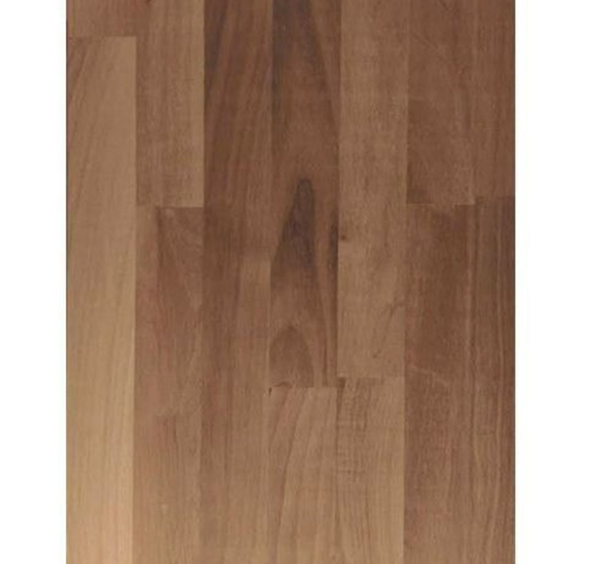 Massief houten werkblad Noten (gevingerlast)40mm 250x60cm