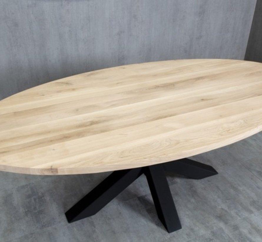 Massief houten tafelblad Eiken Rustiek 40 mm 200x100cm met rechte kant