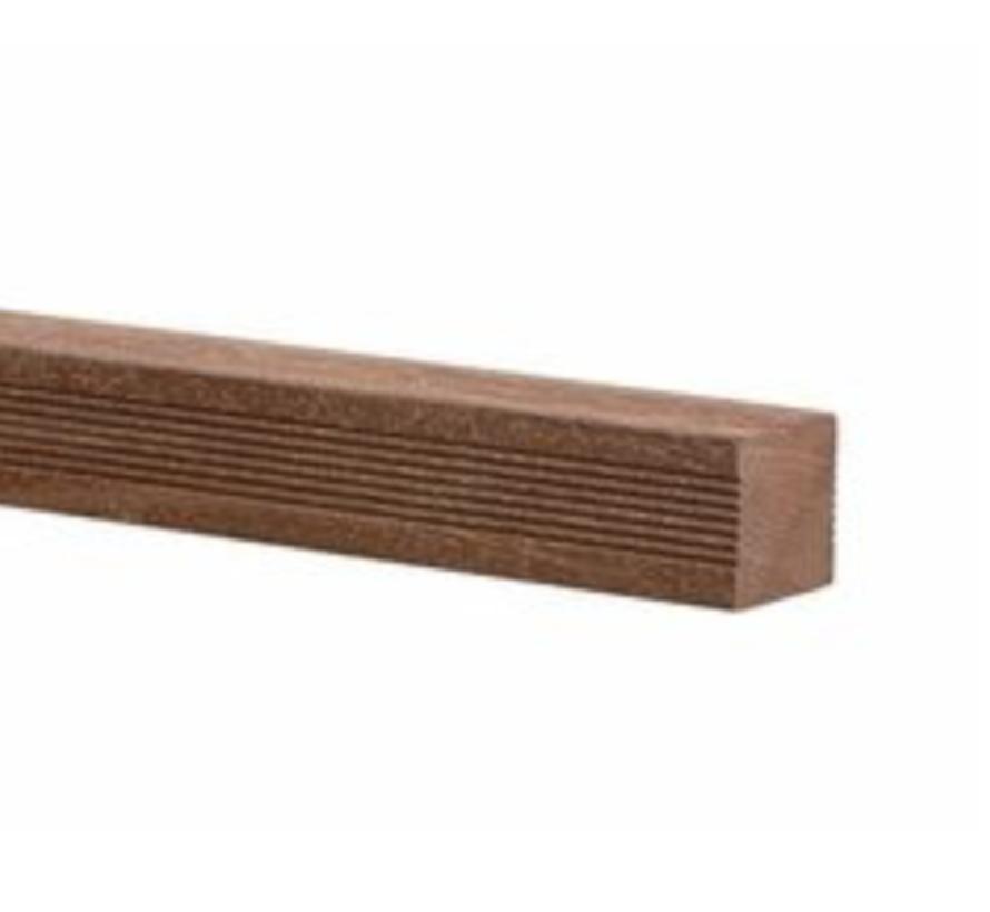 Hardhout geschaafd 68 x 68 mm 275cm ronde kanten