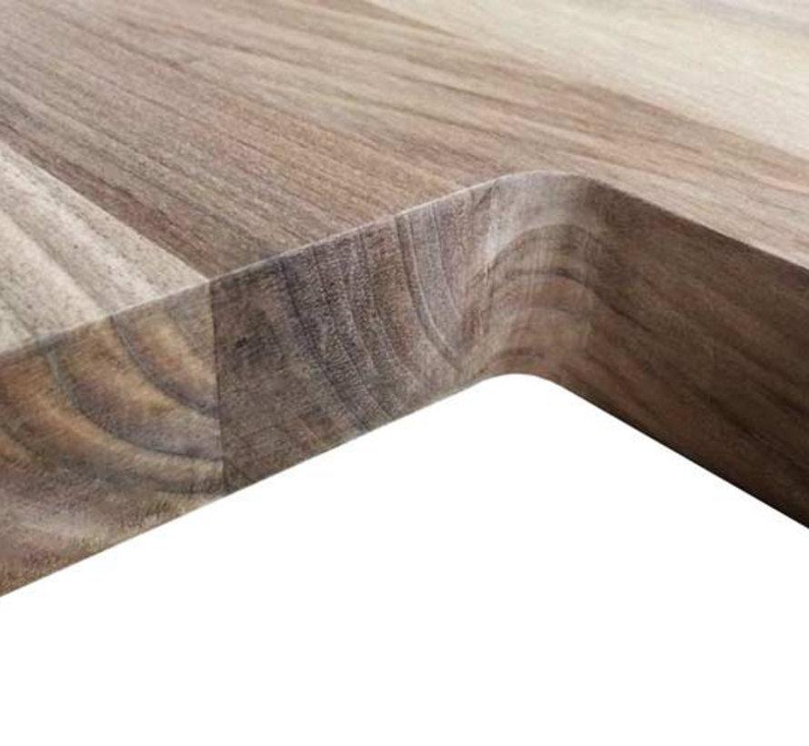 Massief houten werkblad Noten - gevingerlast 27mm 210x64cm