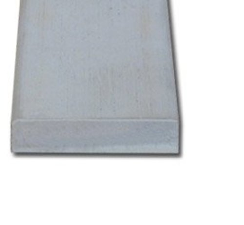 Koplat hardhout 13 x 45 mm recht wit-gegrond 490cm
