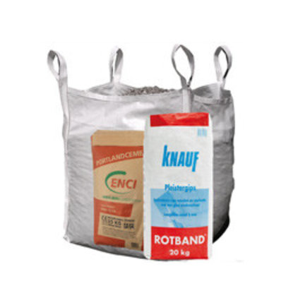Zakwaren: cement, zand, grind, gips, mortels en Big Bags