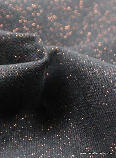 koper zwart glitter boordstof