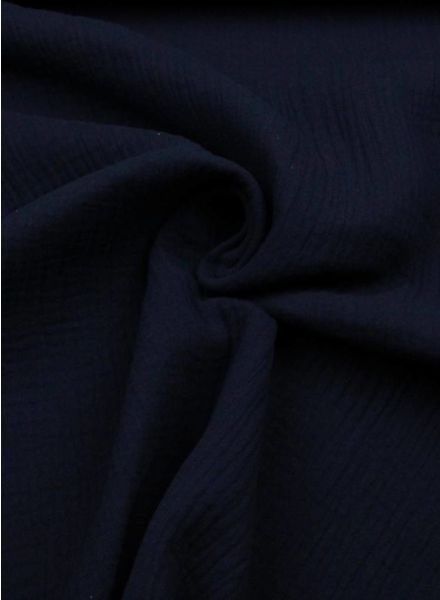 marineblauwe effen tetra - double gauze