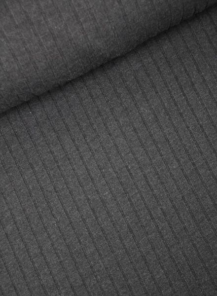 antraciet geribbelde tricot