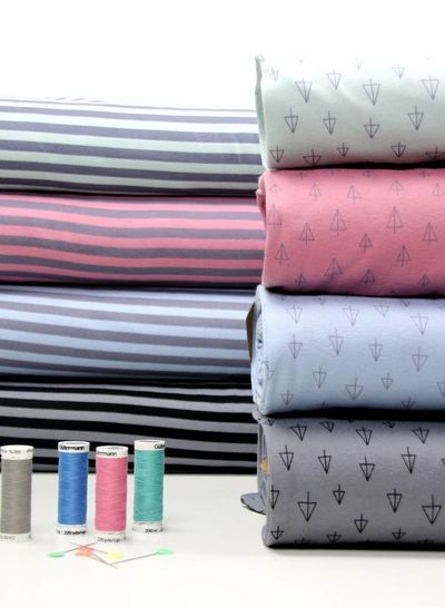 dusty pink stripes - organic interlock