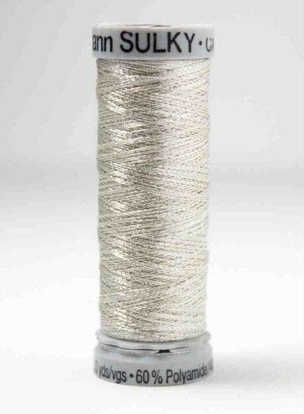 Gutermann metallic zilver wit - 200m
