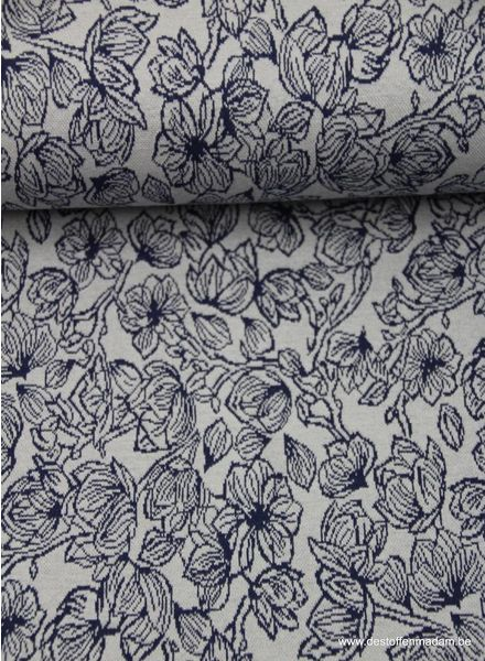 blue flowers - knitted fabric