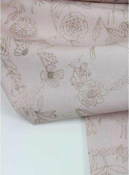 old pink plants metallic - cotton