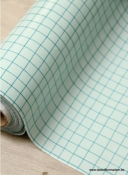 green grid - laminated cotton
