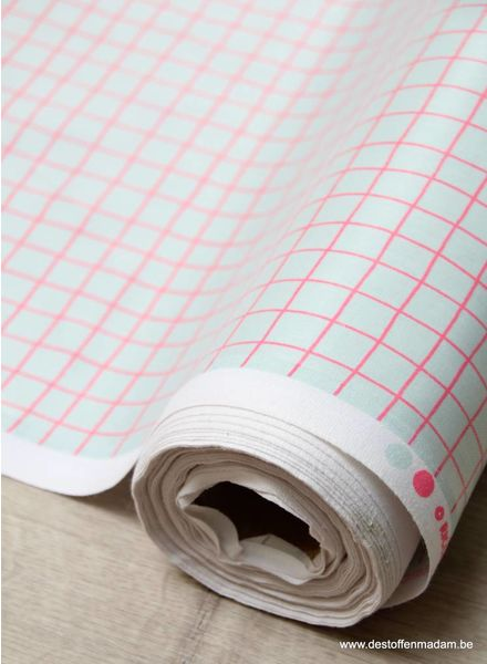 neon pink grid - laminated cotton