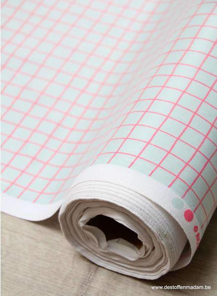 neon roze grid - gelamineerd katoen