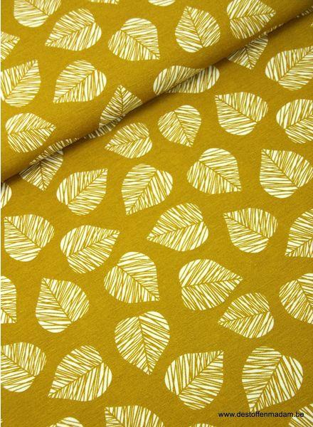 leaves ochre - deco fabric
