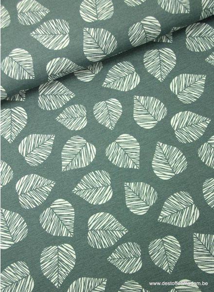 bladeren grijs - deco stof