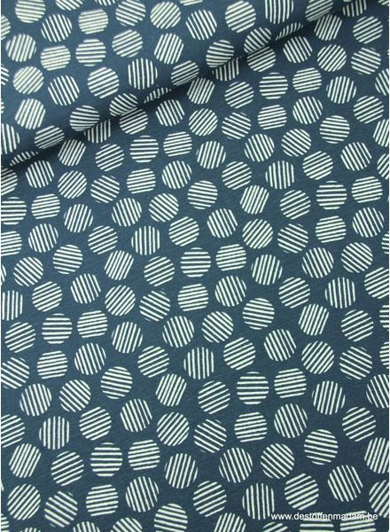 gestreepte cirkels blauw - deco stof