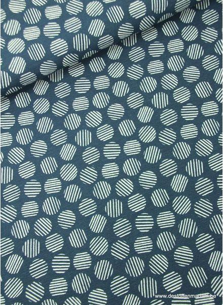 striped circles blue - deco fabric
