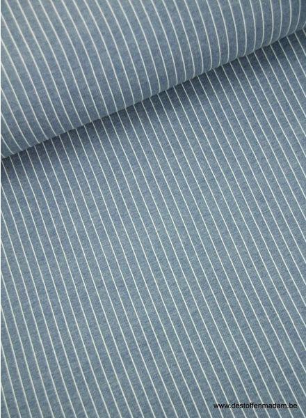 verticale streepjes denimblauw - modal french terry