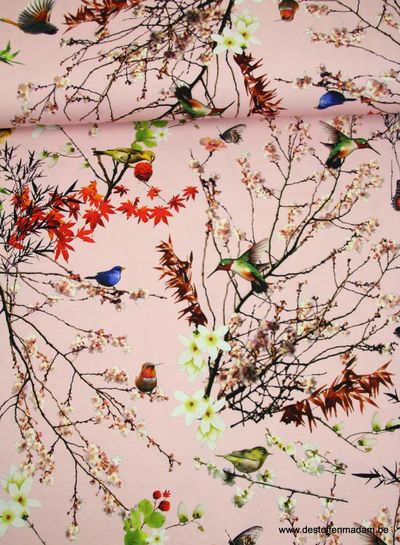 japanse vogeltjes roze - tricot