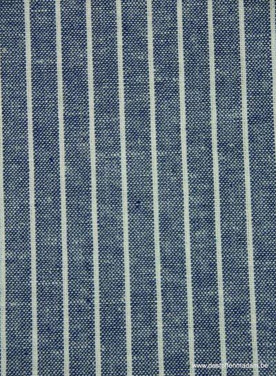 verticale strepen blauw - gewassen linnen mix