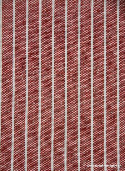 verticale streepjes rood - gewassen linnen mix