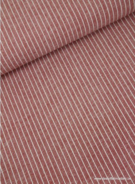 vertical stripes red - washed mixed linen