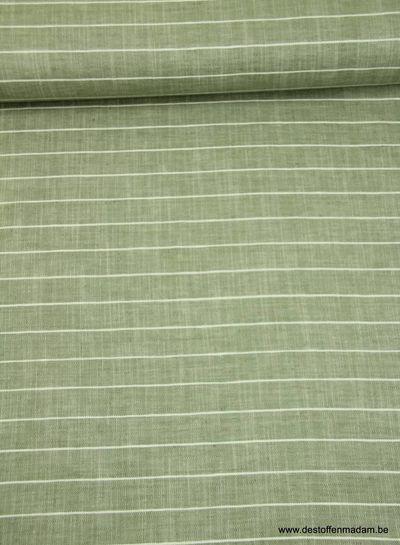 horizontale streep khaki - linnen katoen