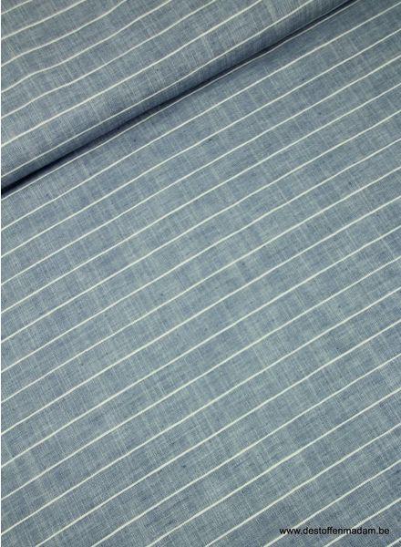 horizontale streep blauw - linnen katoen
