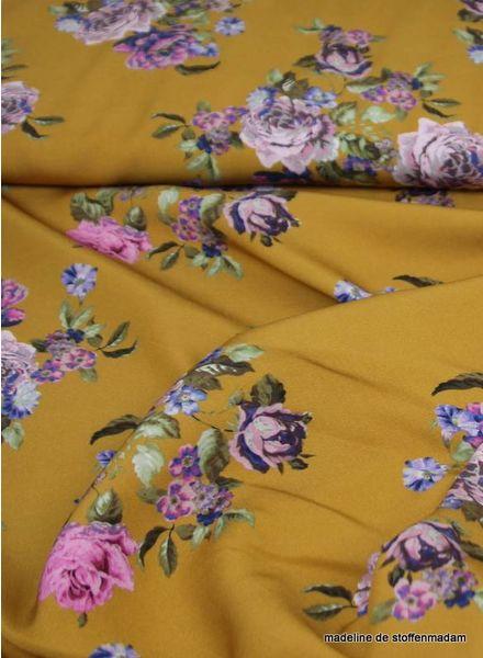 flowers ochre - Italian viscose